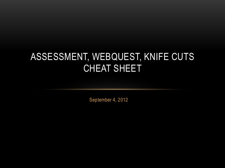 ASSESSMENT, WEBQUEST, KNIFE CUTS         CHEAT SHEET           September 4, 2012