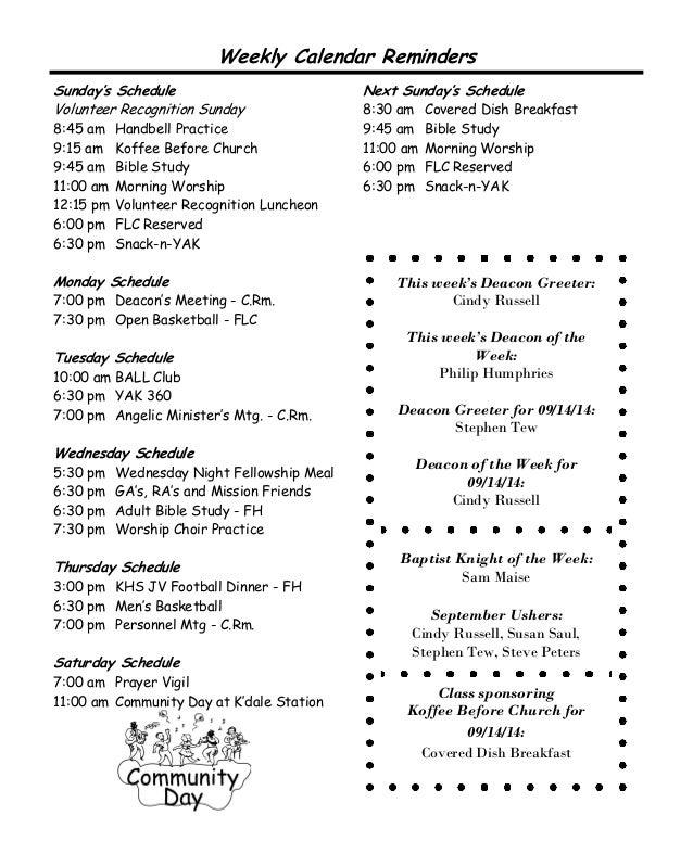 Knightdale Baptist Church Sept 7, 2014 Worship Bulletin