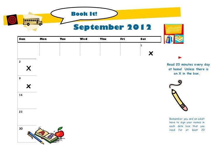 Book It!                              September 2012Sun       Mon       Tue        Wed       Thu       Fri       Sat      ...