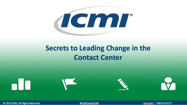 Insight from the September 13, 2016 #ICMI Topic: Leading Change in the Contact Center Host: @NealTopf