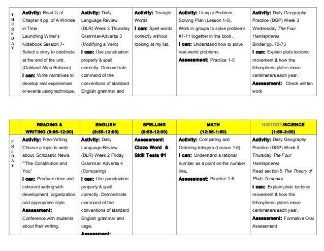 Lesson Plans September 16 20 – A Wrinkle in Time Worksheets