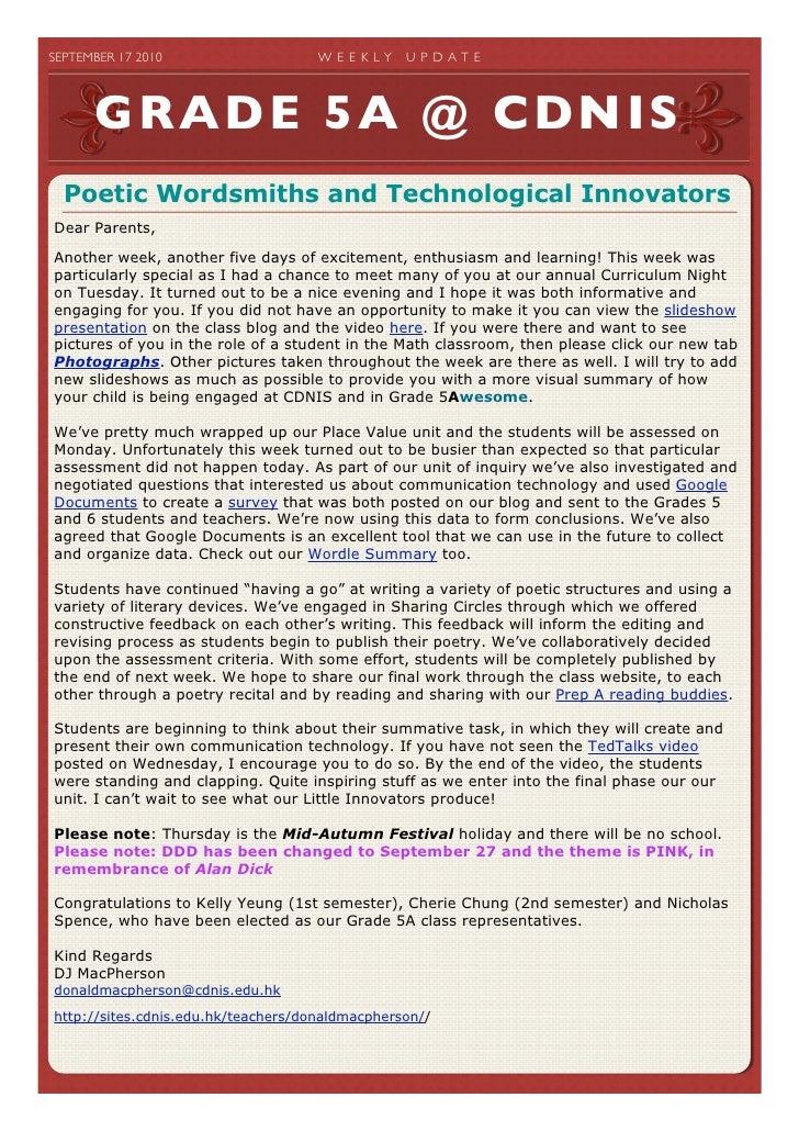 SEPTEMBER 17 2010                   W E E K LY   U P D A T E             GRADE 5A @ CDNIS   Poetic Wordsmiths and Techno...