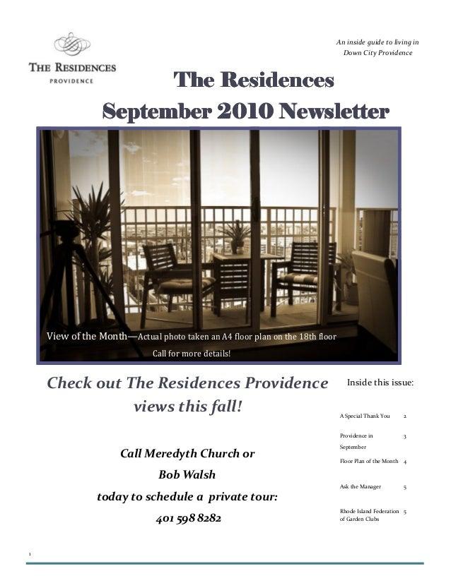 1 The ResidencesThe ResidencesThe ResidencesThe Residences September 2010 NewsletterSeptember 2010 NewsletterSeptember 201...