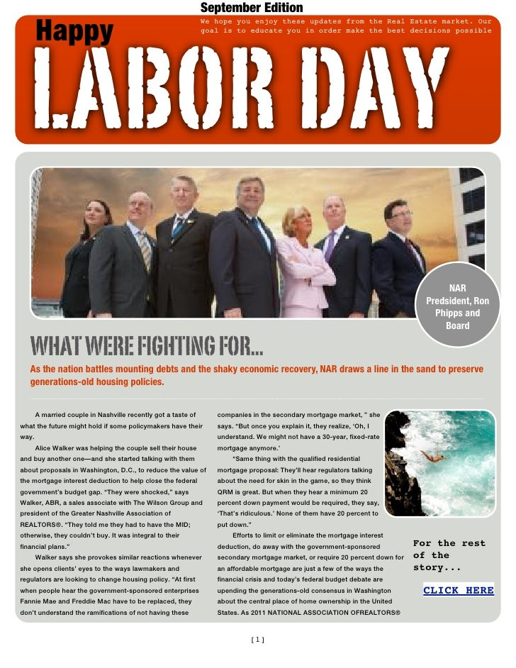 September Edition       Happy   LABOR DAY                                                               We hope you enjoy ...