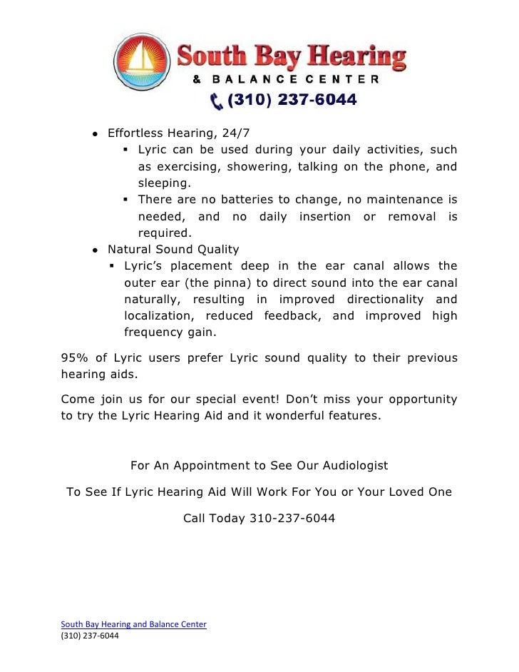 Lyric Hearing Aid Special Event: September 7th – 23rd