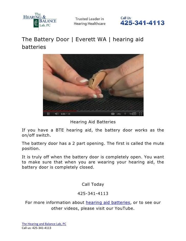 The Battery Door | Everett WA | hearing aidbatteries                                  Hearing Aid BatteriesIf you have a B...
