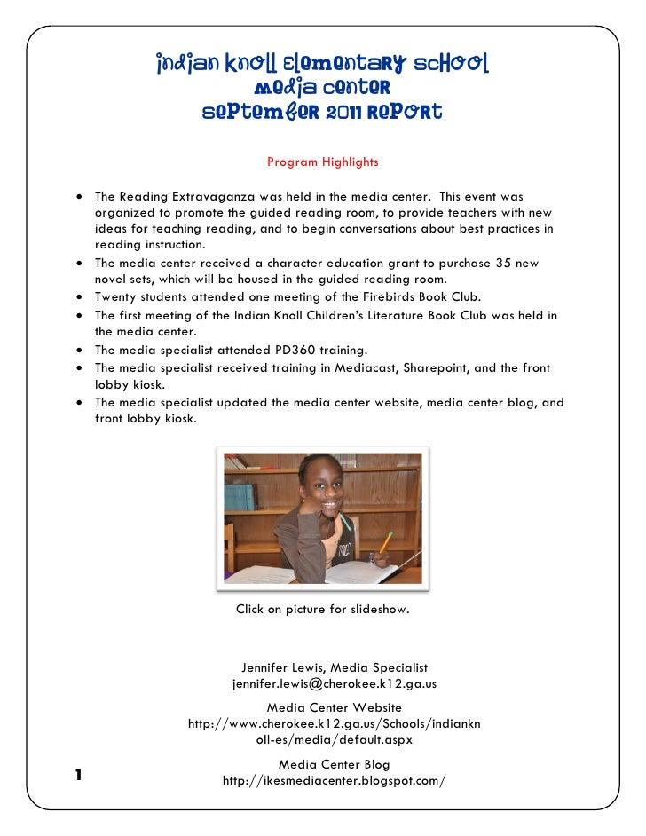 Indian Knoll Elementary School                      Media Center                  September 2011 Report                   ...