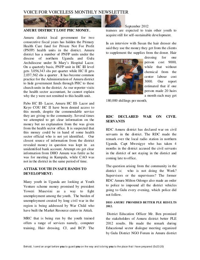 VOICE FOR VOICELESS MONTHLY NEWSLETTER                                                                                    ...