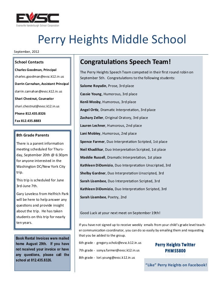 Perry Heights Middle SchoolSeptember, 2012School Contacts                        Congratulations Speech Team!Charles Goodm...