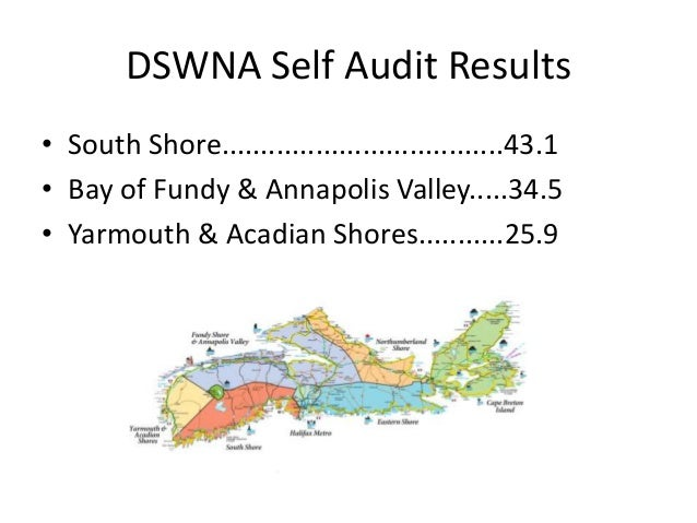 DSWNA Self Audit Results • South Shore....................................43.1 • Bay of Fundy & Annapolis Valley.....34.5 ...
