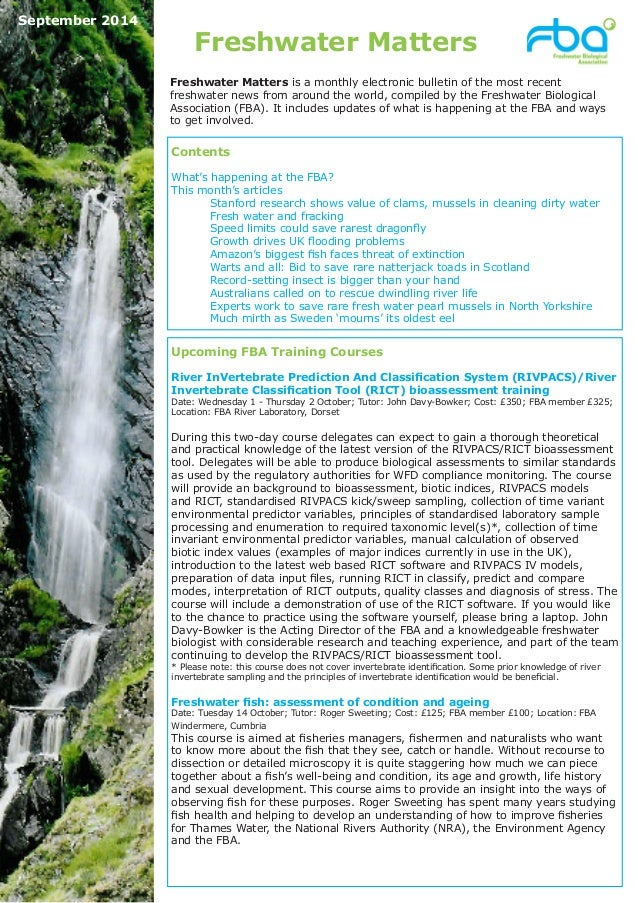 Freshwater Matters  Upcoming FBA Training Courses  River InVertebrate Prediction And Classification System (RIVPACS)/River...