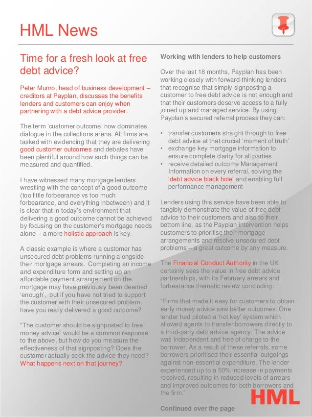 HML News  Time for a fresh look at free debt advice?  Peter Munro, head of business development – creditors at Payplan, di...