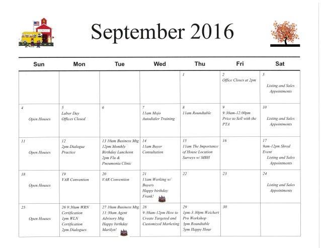 September 2016 Calendar of Events for Weichert, Realtors Vienna