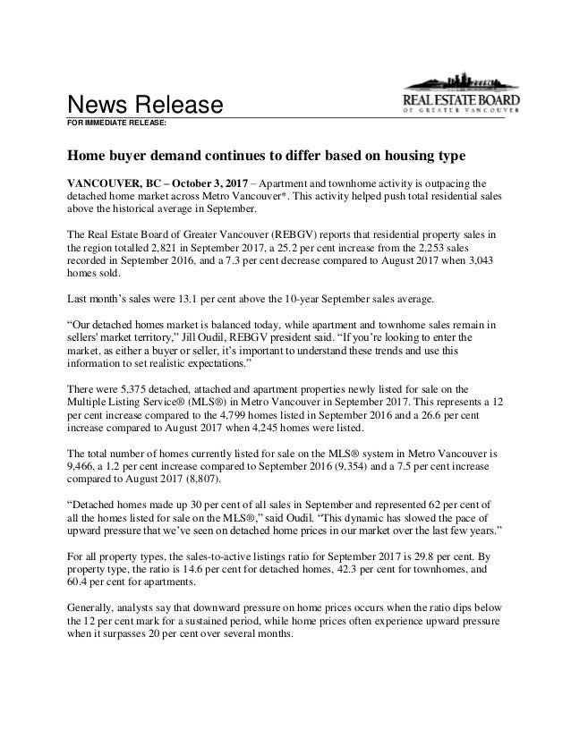 News Release FOR IMMEDIATE RELEASE: Home buyer demand continues to differ based on housing type VANCOUVER, BC – October 3,...