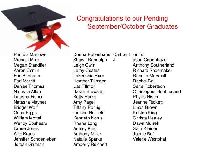 Congratulations to our Pending September/October Graduates Pamela Marlowe Donna Rubenbauer Carlton Thomas Michael Mixon Sh...