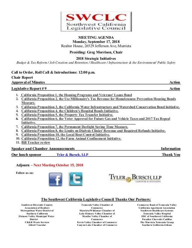 MEETING AGENDA Monday, September 17, 2018 Realtor House, 26529 Jefferson Ave, Murrieta Presiding: Greg Morrison, Chair 201...