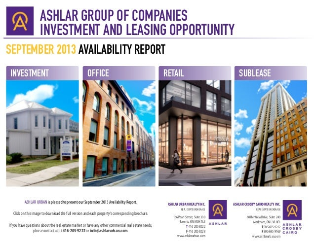 ASHLAR GROUP OF COMPANIES INVESTMENT AND LEASING OPPORTUNITY ASHLAR URBAN REALTY INC. REAL ESTATE BROKERAGE 166 Pearl Stre...