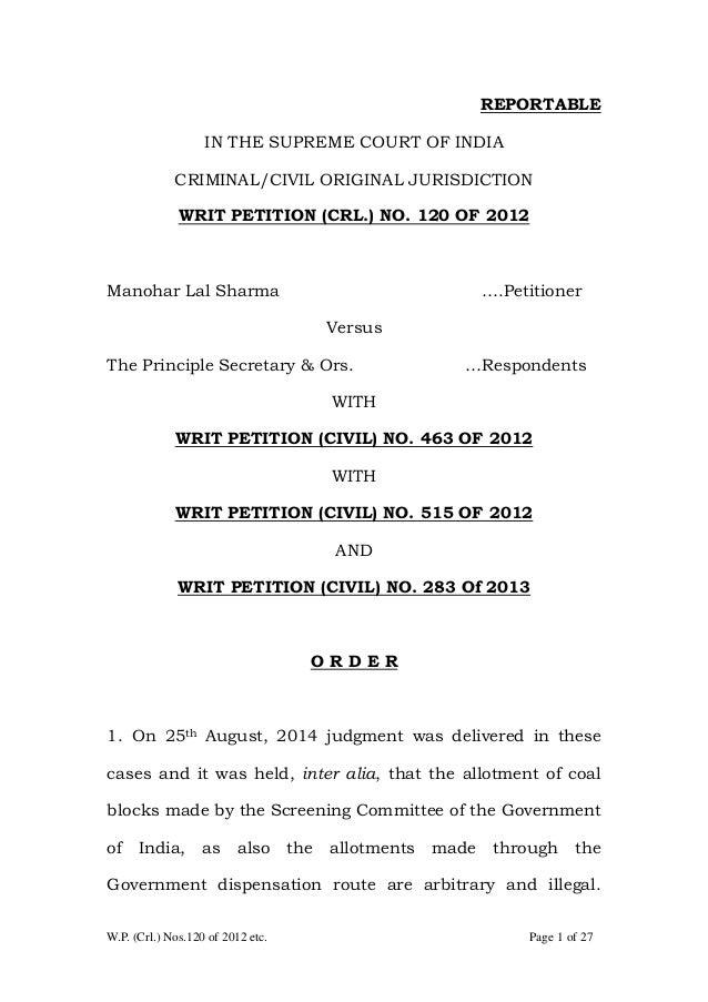 W.P. (Crl.) Nos.120 of 2012 etc. Page 1 of 27 REPORTABLE IN THE SUPREME COURT OF INDIA CRIMINAL/CIVIL ORIGINAL JURISDICTIO...