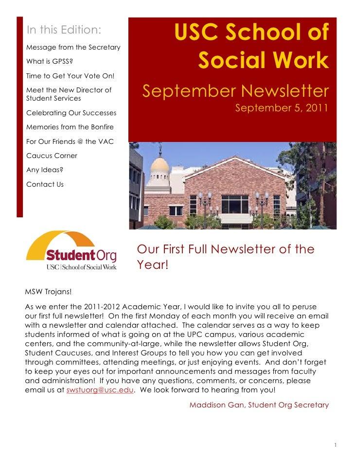 Social Work Quotes Sayings: September USC School Of Social Work Student Org Newsletter