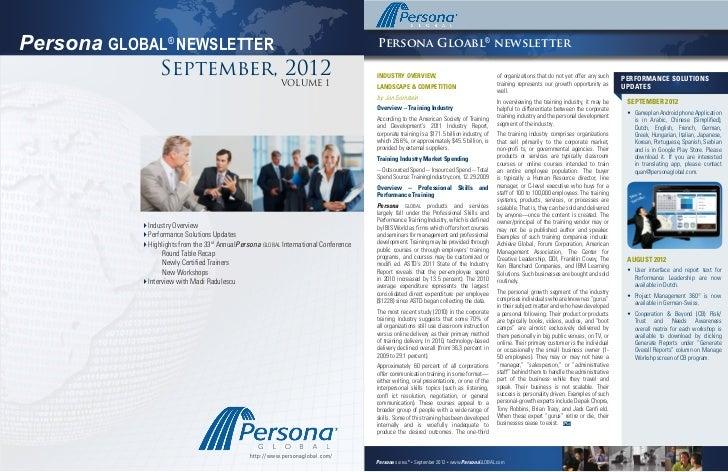 Issue 1, September 19, 2012Persona GLOBAL® NEWSLETTER                                                            Persona G...