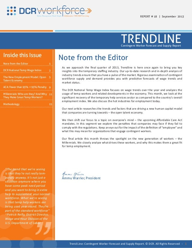 """ "" As we approach the final quarter of 2013, Trendline is here once again to bring you key insights into the temporary st..."