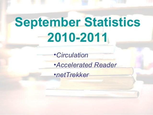 September Statistics 2010-2011 •Circulation •Accelerated Reader •netTrekker
