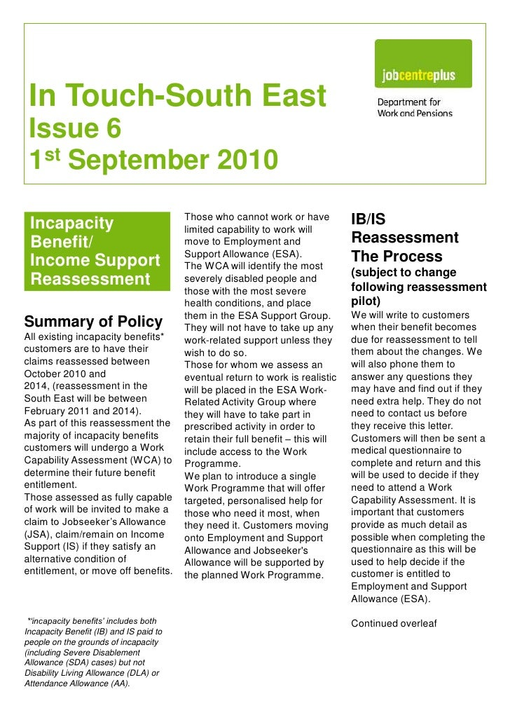 In Touch-South EastIssue 6 1st September 2010<br />IB/IS Reassessment The Process <br />(subject to change following reass...