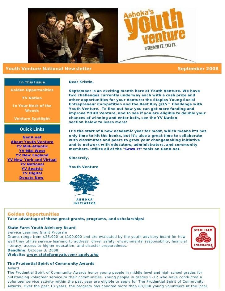 Youth Venture National Newsletter                                                              September 2008        In Th...