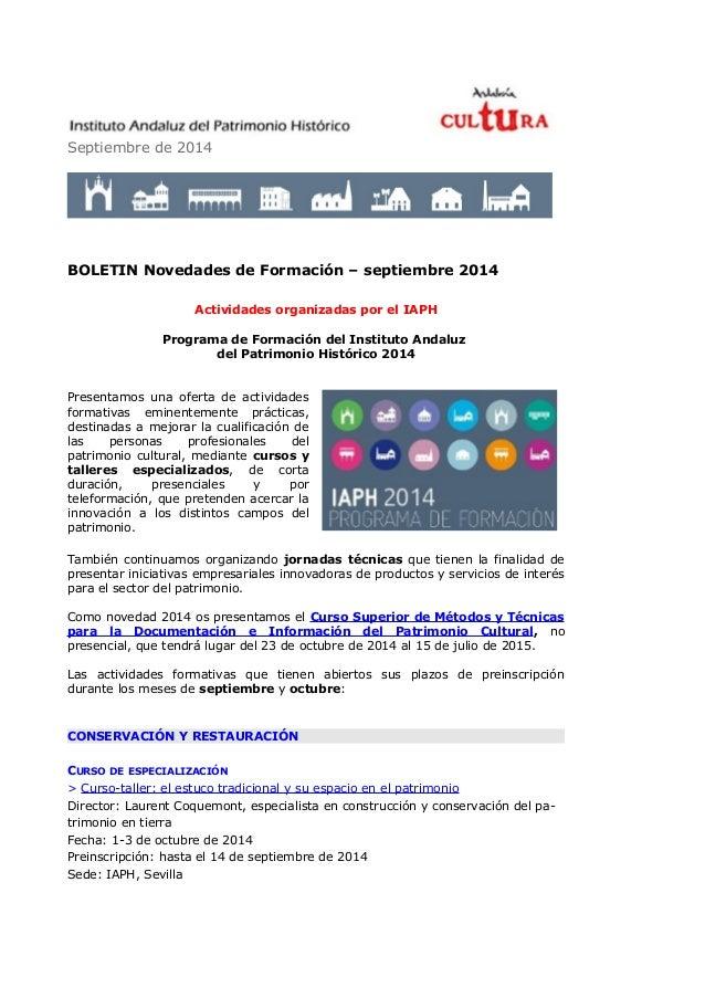 Septiembre de 2014  BOLETIN Novedades de Formación – septiembre 2014  Actividades organizadas por el IAPH  Programa de For...
