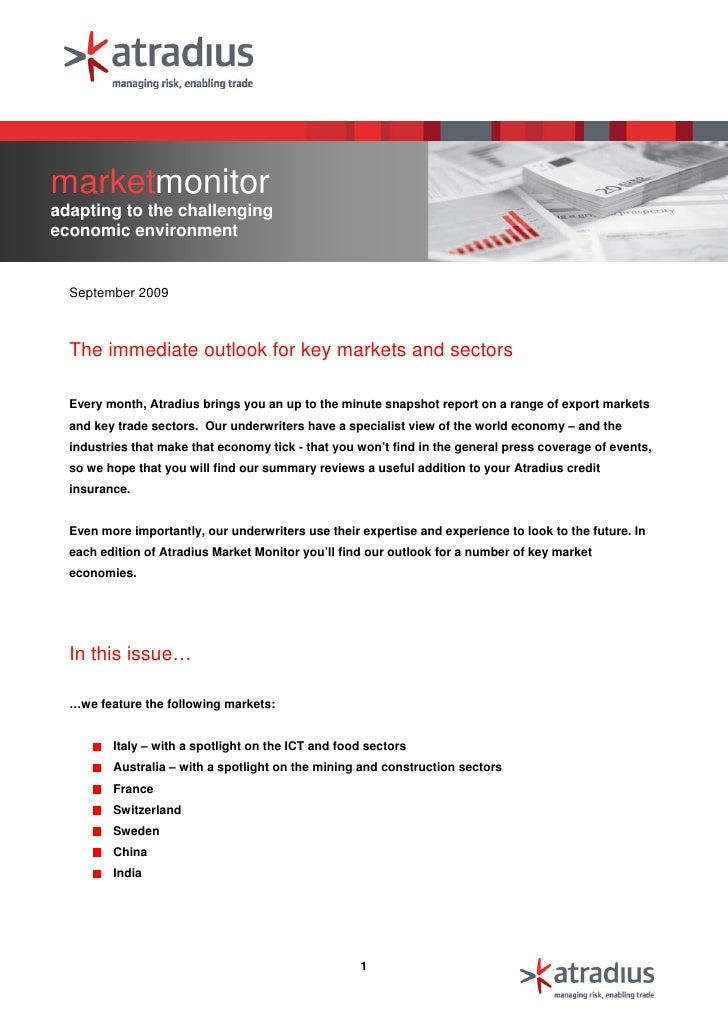 marketmonitor adapting to the challenging economic environment     September 2009      The immediate outlook for key marke...