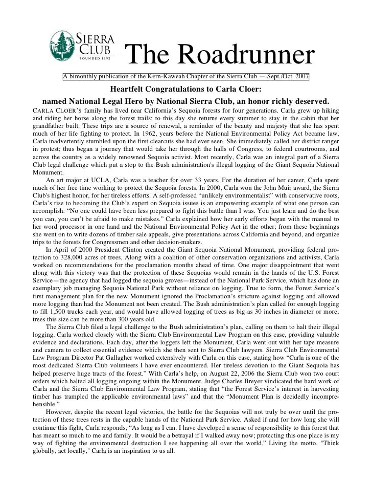 September-October 2007 Roadrunner Newsletter, Kern-Kaweah Sierrra Club