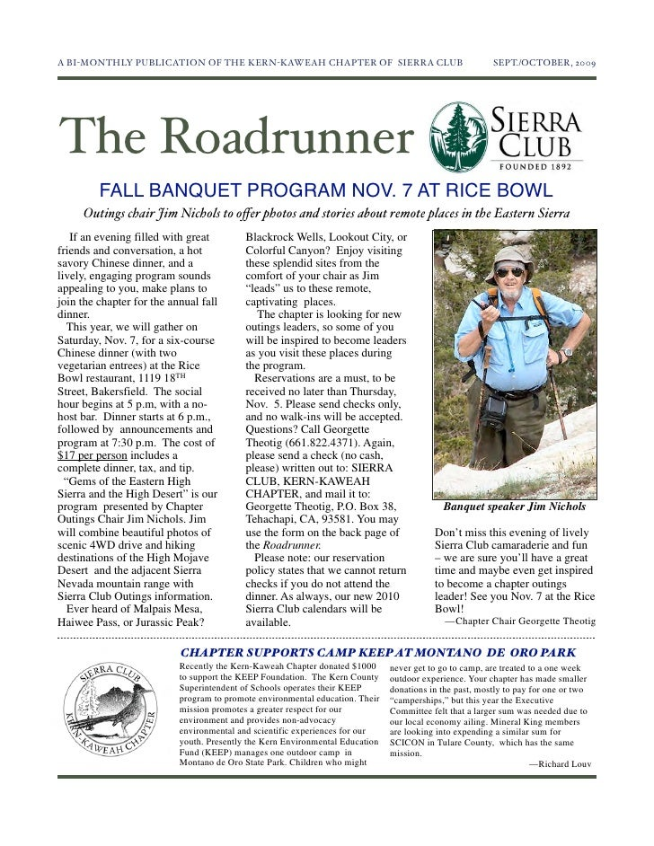 A BI-MONTHLY PUBLICATION OF THE KERN-KAWEAH CHAPTER OF SIERRA CLUB                                    SEPT./OCTOBER, 2009...