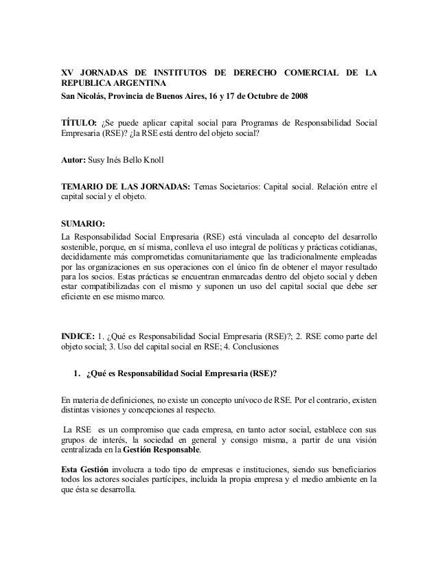 XV JORNADAS DE INSTITUTOS DE DERECHO COMERCIAL DE LAREPUBLICA ARGENTINASan Nicolás, Provincia de Buenos Aires, 16 y 17 de ...
