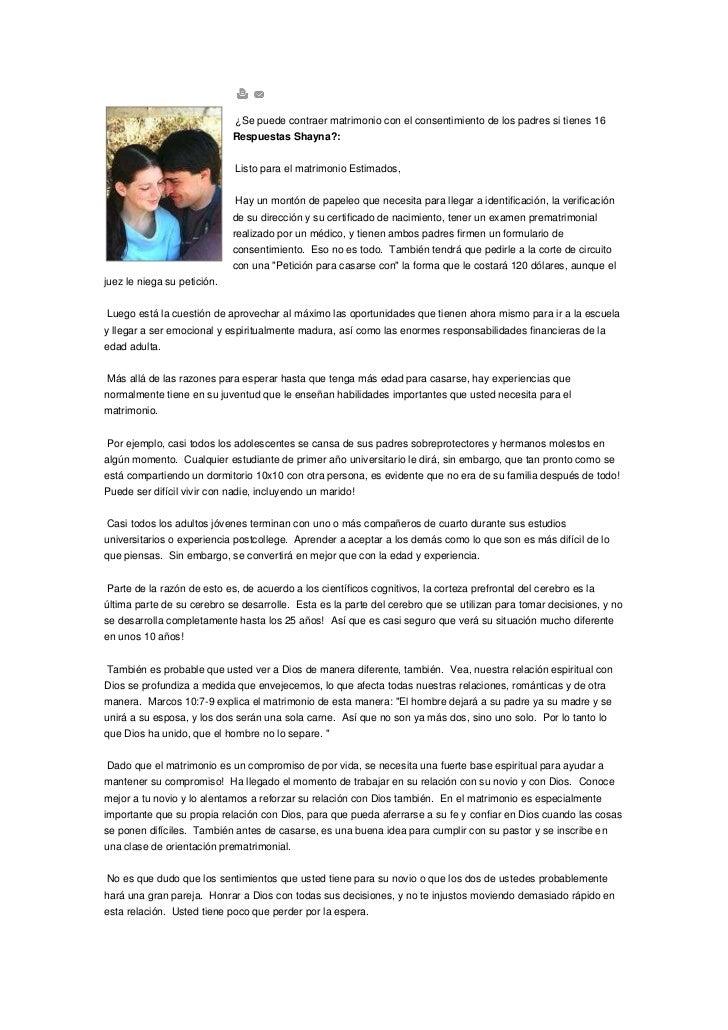 Se puede contraer matrimonio con el consentimiento de los padres si t…