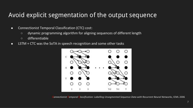 Avoid explicit segmentation of the output sequence ● ○ ○ ● 7