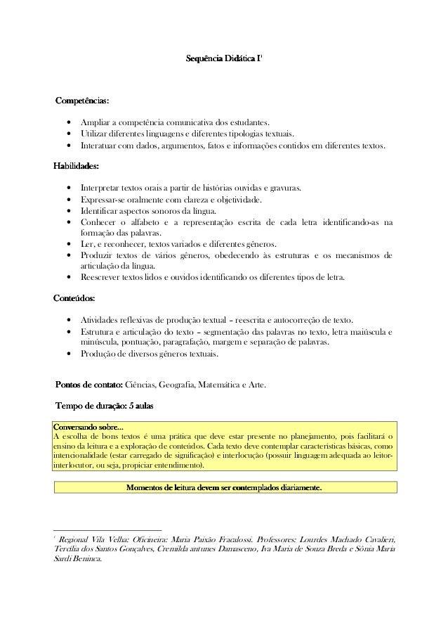 Sequência Didática ISequência Didática ISequência Didática ISequência Didática I1111 Competências:Competências:Competência...