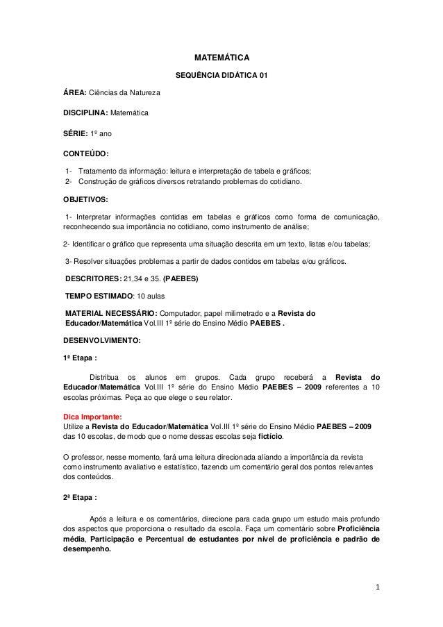 1 MATEMÁTICA SEQUÊNCIA DIDÁTICA 01 ÁREA: Ciências da Natureza DISCIPLINA: Matemática SÉRIE: 1º ano CONTEÚDO: 1- Tratamento...