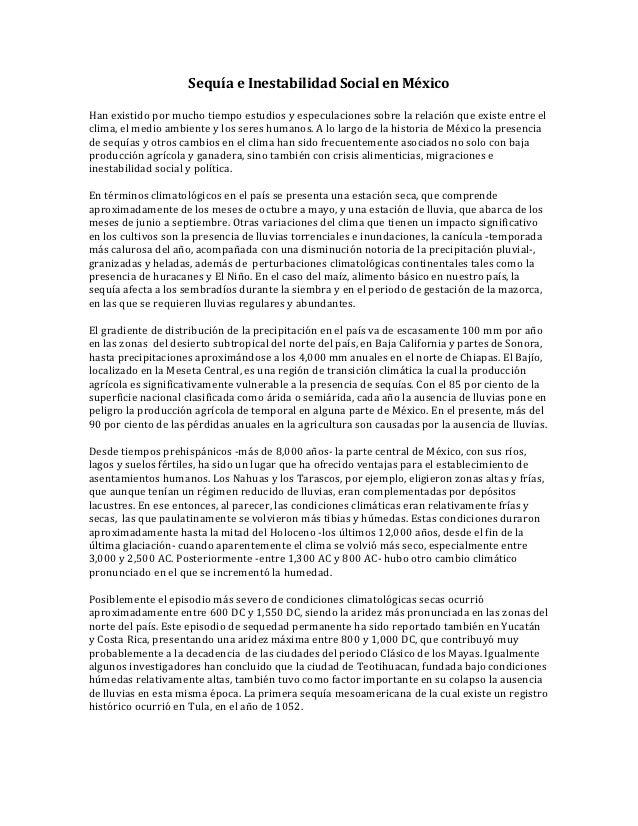 Sequía e Inestabilidad Social en MéxicoHan existido por mucho tiempo estudios y especulaciones sobre la relación que exist...