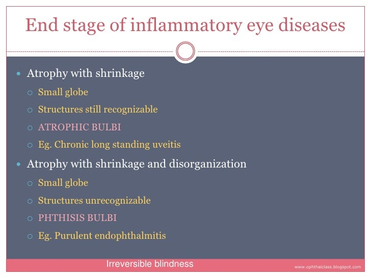 End stage of inflammatory eye diseases   Atrophy with shrinkage       Small globe           Structures still recognizabl...