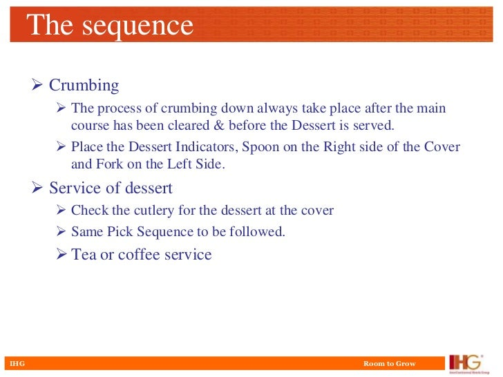 Sequence Of Room Service