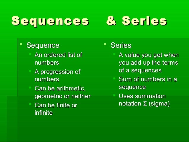 Sequences and series power point