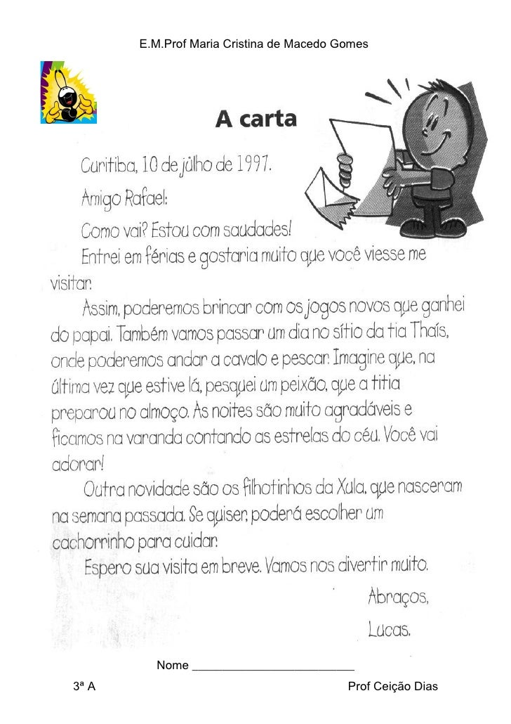 E.M.Prof Maria Cristina de Macedo Gomes              Nome ___________________________ 3ª A                                ...