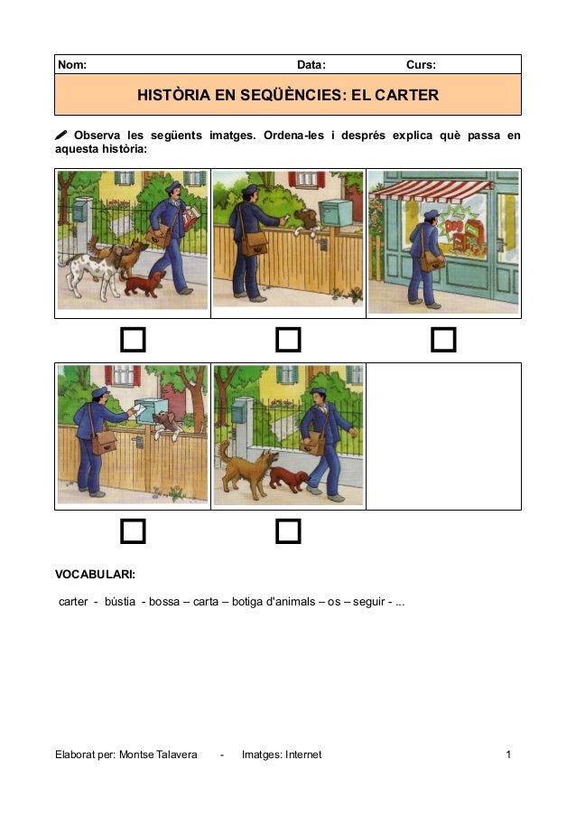 Nom: Data: Curs: HISTÒRIA EN SEQÜÈNCIES: EL CARTER  Observa les següents imatges. Ordena-les i després explica què passa ...