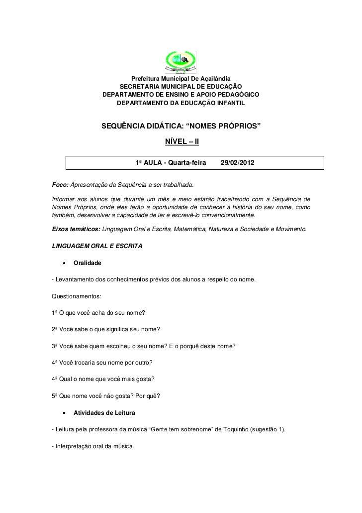 Prefeitura Municipal De Açailândia                        SECRETARIA MUNICIPAL DE EDUCAÇÃO                    DEPARTAMENTO...