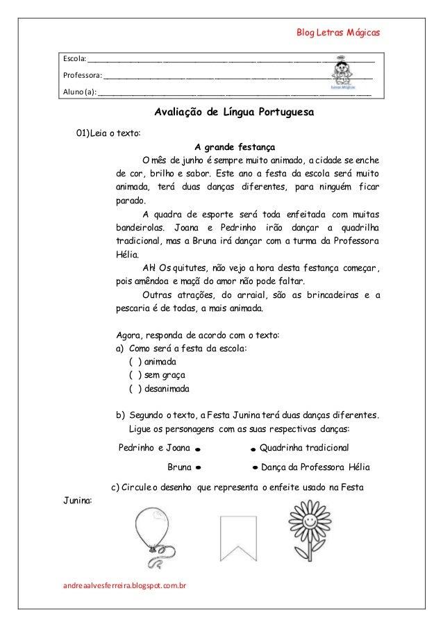 Blog Letras Mágicas andreaalvesferreira.blogspot.com.br Escola:___________________________________________________________...