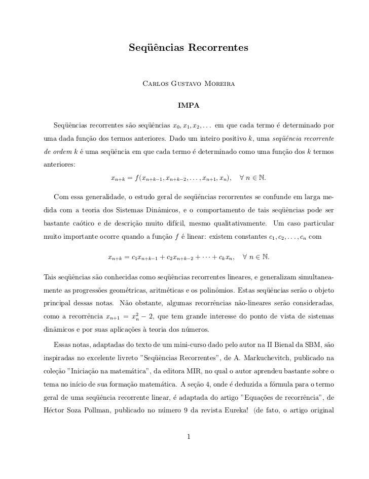 Seq¨ˆncias Recorrentes                                 ue                                   Carlos Gustavo Moreira        ...