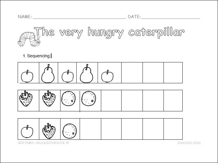 Sequencingthe very hungry caterpillar – The Very Hungry Caterpillar Worksheets