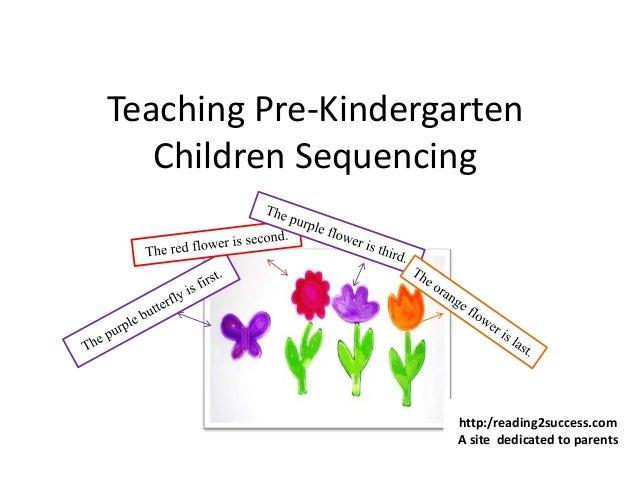 Teaching Pre-Kindergarten Children Sequencing http:/reading2success.com A site dedicated to parents