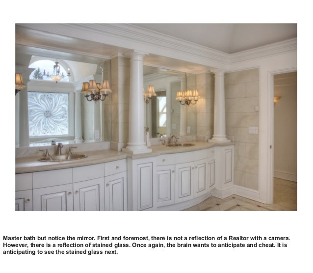 Master bath but notice the mirror. First and foremost, there is not a reflection of a Realtor with a camera. However, ther...