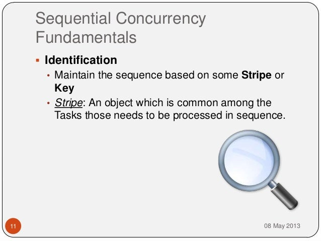 Sequential ConcurrencyFundamentals08 May 201311 Identification• Maintain the sequence based on some Stripe orKey• Stripe:...